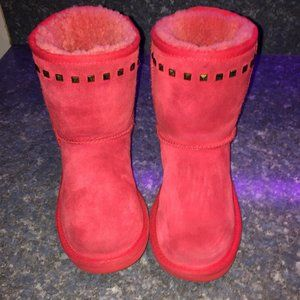 UGG Red/Pink KIDS CLASSIC STUDDED BOOT Sz 2 GREAT